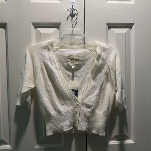 Forever 21 white/cream lace cropped cardigan